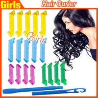 Wholesale Sell Hair Home - Hot Amazing MAGIC DIY Magic Hair Curler Roller Magic Circle Hair Styling Rollers Curlers Leverag perm 18pcs set Selling Fast