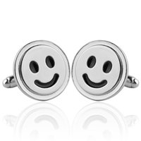 Wholesale 1 pair Happy smiley face Cufflinks Men Wedding amp Business Cuff Button Fashion Novelty Fancy Silver Smiling French shirt Cuff link