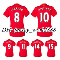 Wholesale 2016 women Liverpooles Home Away Soccer Jersey lady GERRARD COUTINHO FIRMINO HENDERSON STURRIDGE LALLANA feminine Football shirt