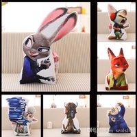 Wholesale dhl Cartoon Zootopia Plush Pillow Anime Movie Music Action Figures Soft Animals Toys Cushion Judy Hopps Nick Wilde Bedding Pillow JS T01