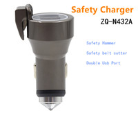 Wholesale Multifunctional Car Charger For Cell Phone Tungsten steel Safety Hammer Emergency Car Charger and Safety belt cutter And Double Usb Port