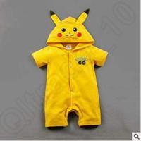 Cheap Newborn Pikachu Romper With Hoodied Summer Baby Boys Girls Short Jumpsuits Bodysuits Pajamas Children Cotton Clothing CCA5087 50pcs