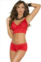 Wholesale Cheapest Lingerie Set Stretch Lace Bralette Lingerie Set Red