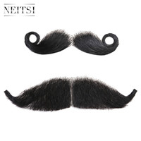 Wholesale Neitsi Styles Hot Sale Beard Human Hair Full Hand Tied Fake Moustache Black Whisker PC For Party Halloween Cosplay