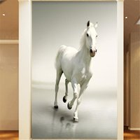 animals horses wallpaper - HD White Horse Run photo wall paper Animal Wall Mural Modern Art Wallpaper Bedroom Livingroom background wall Gifts Home decor