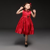 best designer gowns - Pettigirl Best Sellers Designer Girls Flowers Red Party Dresses Sleeveless Appliqued Ball Gown Knee Length Baby Tutu Kids Wear GD40918