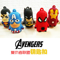 Wholesale 2016 Star Wars Darth Vader Keychain Accessories Avengers Superman Spiderman Batman America Captain D stereoscopic silicone key ring pendant
