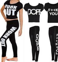 alphabet work - 2015 New fitness Workout Women Tracksuits Work out Blogger Alphabet print Pants sports Tracksuits women Tracksuits LJJH340 SET