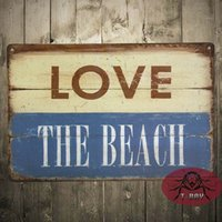 beach wood signs - Love the Beach Metal Sign Rustic Aged Wood Image Beachhouse Gameroom Decor