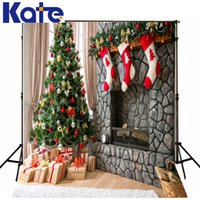 Wholesale Warm Christmas Gift Backgrounds For Photo Studio Christmas Tree photography Backdrops J01782