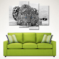 art print frames - 4 Pieces Black White Wall Art Painting Blue Eyed Leopard Prints On Canvas The Picture With Wooden Frame For Home Decoration