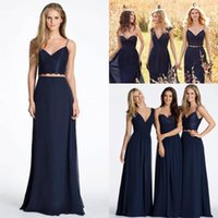 Wholesale New Cheap Bridesmaid Dresses Bohemian For Weddings Navy Blue Chiffon Lace Two Pieces Long Plus Size Maid of Honor Wedding Guest Gowns