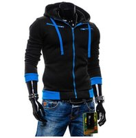 Wholesale 2016 New Winter Fashion Fleece Hoodies Men Casual Sportswear Man Hoody Zipper Long sleeved Sweatshirt Men Contrast Color Slim Fit Men Hoodie