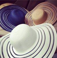 achat en gros de blancs mao-2016 printemps et d'été dames de petites fleurs parfumées gaze rayée noir et blanc Dayan Mao chapeau de soleil plage femme ombre du soleil