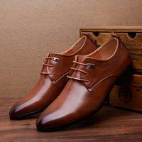 venda por atacado sapatos de luxo-Classical Men Dress Flat Shoes Luxo Homens Negócios Oxfords Calçado Casual Preto / Brown Leather Derby Shoes