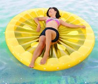 Wholesale Lemon Green Pvc Inflatable Air Bed Floating Row Watermelon Water Floating Ring Adult Toys