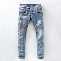Wholesale European Famous Brand Jeans for Men Casual Fold Holes Denim Biker Slim Stretch Pant Balmans Skinny Balmaied Trousers