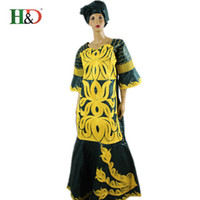 big puff - 2016 African women fashion dress cotton bazin riche dress for women straight big line type style