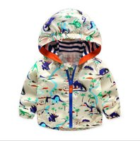 Wholesale Acitonclub Baby Boys Jackets Children Hooded Dinosaur Printed Boys Outerwear T Kids Windbreaker Spring Autumn Clothes
