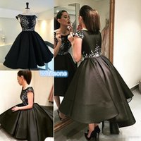 asymmetrical neckline dress - Little Short Black High Low Cocktail Dresses A Line Appliqued Jewel Neckline Cheap Graduation Dress Satin Prom Party Gowns For Women