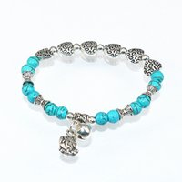 best amber beads - European Best Sellers Ancient Silverwave Sago Second Wind Heart Metal Parts Toad Small Bell Pendeloque Cut Green Turquoise Bracelet