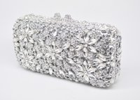 Wholesale Clear Crystal Evening Bag - Socialite Metal Hard Case Ladies Clear Crystal Clutch Bags Evening Bags Women Hollow Out Wedding Party Silver Prom Handbag Purse
