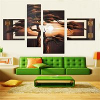 asian wall mirrors - Hand Painted set Set Modern Asian Art Abstract Landscape Oil Painting On Canvas Pine Tree Wall Art Decoration
