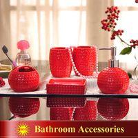 bathroom glazing - Porcelain bathroom sets ceramic golf ball shape dimpled grain design white red glaze five piece set accessories bathroom sets