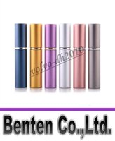 Wholesale perfume bottle ml Aluminium Anodized Compact Perfume Aftershave Atomiser Atomizer fragrance glass scent bottle Mixed color LLFA88