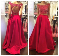 amazing formal dresses - Amazing Hot Red Two Piece Prom Dresses Scoop Neck Long Open Back Evening Party Dress Formal Gown with Detachable Skirt