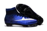 2016 zapatos 100% original azul CR7 FG Fútbol Hypervenom Phantom II FG Botines de fútbol de alta del tobillo botas de fútbol