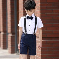 Wholesale 4 Jacket Pants Bow Tie Vest Straps Spring Summer Boys Wedding Suit Boys Clothes Boys Suits for Weddings Boys Formal Wear