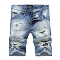 Cheap Wholesale-2016 Summer Ds Retro Washed light Blue ripped Jeans Shorts For Men Holes Patch Skinny Denim Pants Famous Brand