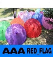 Wholesale new farbic wedding parasols solid color Chinese bamboo long straight sun umbrellas diameter inches LLFA