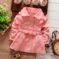 Wholesale Autumn Children Korean Clothing Girl s Cotton Collar Wind Coat Jacket Flower Button Lace Outwear Red Pink Green Girl Clothes BC275