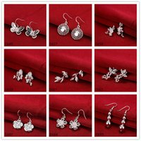 arrival zirconia fashion - 10 pairs mixed style women s silver earring GTE54 new arrival fashion sterling silver Dangle Chandelier earrings