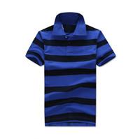 Wholesale Designer Polo Shirts Mens Fashion Small Horse Logo Print Blue Yellow Striped Short Sleeve Shirts Polos Fashion Embroidery Usa American Flag