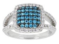 azure ring - Women elegant fashion feminine azure sterling silver jewelry ring full of retro wedding engagement rings