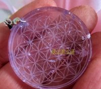 amethyst carved flower - 35mm Natural crystal Amethyst Natural Quartz Crystal Flower of Life Carved Healing g free rope