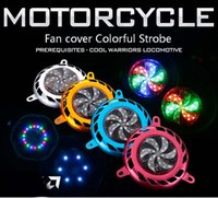 Wholesale The new scooter motorcycle accessories modified Fuk Hi clever imitation grid GY6 wildfire JOG fan cover lights illuminated LED Strobe fan co