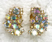 aurora borealis earrings - pair Aurora Borealis Crystal Rhinestone Gold Plated Clip on Style Earrings A032 F2