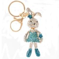 animal lovers club - Fashion Rabbit Blue Club Skirt Charm Pendent Rhinestone Crystal Purse Bag Keyring Chain