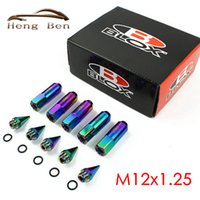 Wholesale HB Racing Neo Chrome Rainbow BLOX Racing Wheel Lug Nuts With Spikes M12x1