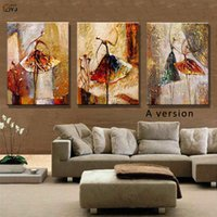 ballet picture frames - Ballet Dancer Picture Hand Painted Modern Abstract Oil Painting Canvas Wall Art for Living Room Decoration Gift No Framed