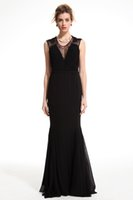 Wholesale 2016 New Lady V Neck Lace Mermaid Floor Length Dress evening gowns prom dresses sleeveless evening dresses