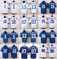 Wholesale Hot Sales Andrew Luck Peyton Manning T Y Hilton Pat McAfee Elite Footballl Jerseys Stitched Blue White