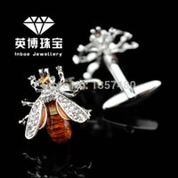 bee jewellery - INBOE Jewellery silver crystal bee cufflinks male French shirt cuff links for men s Jewelry Gift