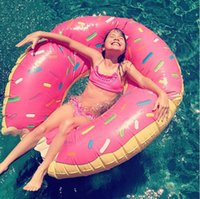 Wholesale 2016 Summer Water Toys Inch Gigantic Donut Swimming Float Inflatable Swimming Ring Colors Strawberry and Chocolate