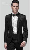 Wholesale Slim Fit Groom Tuxedos Black One Button Shawl Lapel Best Man Groomsman Men Wedding Suits Prom Form Bridegroom Jacket Pants Tie Girdle