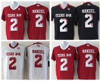 Cheap Newest 2 Johnny Manziel Jersey American Texas Aggies College Football Jerseys Red Black White Team Color Fashion All Stitching Top Quality